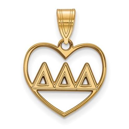 Picture of Delta Delta Delta Sorority Sterling Silver Gold Plated Heart Pendant