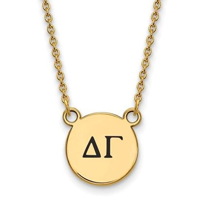 Picture of Delta Gamma Sorority Sterling Silver Gold Plated Extra Small Enameled Pendant Necklace