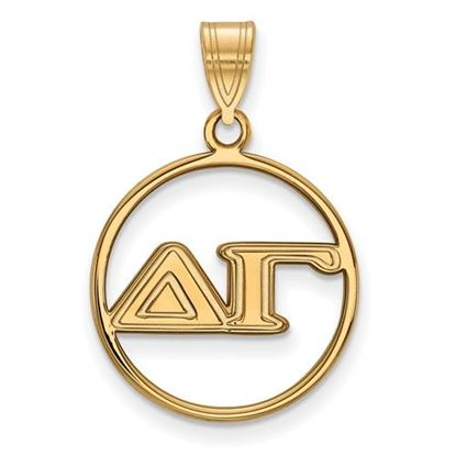 Picture of Delta Gamma Sorority Sterling Silver Gold Plated Small Circle Pendant