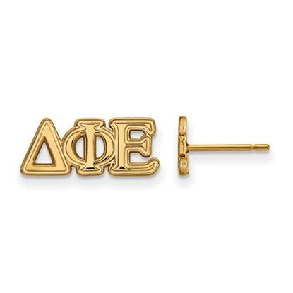 Picture of Delta Phi Epsilon Sorority Sterling Silver Gold Plated Extra Small Post Earrings