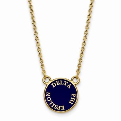 Picture of Delta Phi Epsilon Sorority Sterling Silver Gold Plated Extra Small Enameled Pendant Necklace