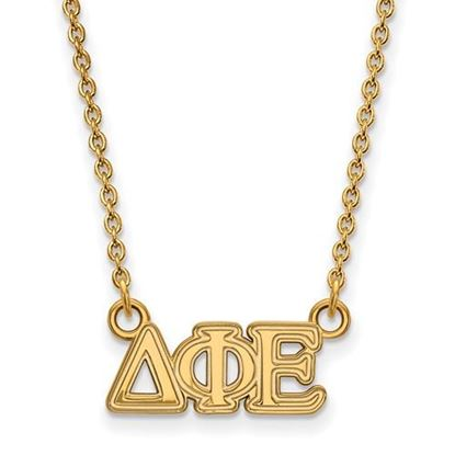 Picture of Delta Phi Epsilon Sorority Sterling Silver Gold Plated Extra Small Pendant Necklace