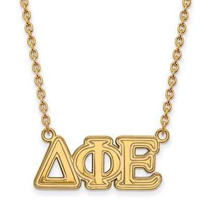 Picture of Delta Phi Epsilon Sorority Sterling Silver Gold Plated Medium Pendant Necklace
