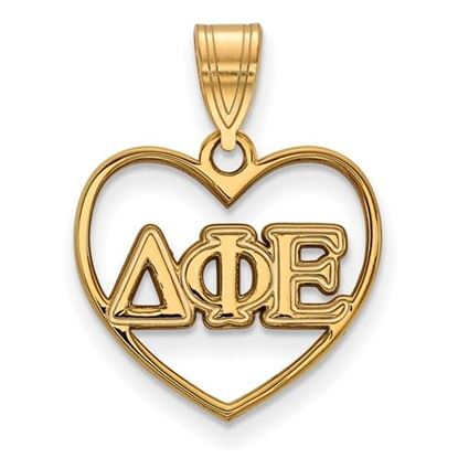 Picture of Delta Phi Epsilon Sorority Sterling Silver Gold Plated Heart Pendant