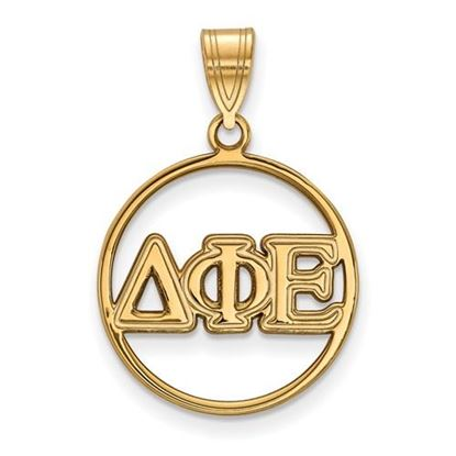 Picture of Delta Phi Epsilon Sorority Sterling Silver Gold Plated Small Circle Pendant
