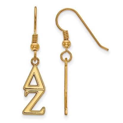 Picture of Delta Zeta Sorority Sterling Silver Gold Plated Dangle Medium Earrings