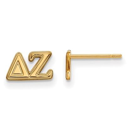 Picture of Delta Zeta Sorority Sterling Silver Gold Plated Extra Small Post Earrings