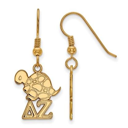 Picture of Delta Zeta Sorority Sterling Silver Gold Plated Medium Dangle Earrings
