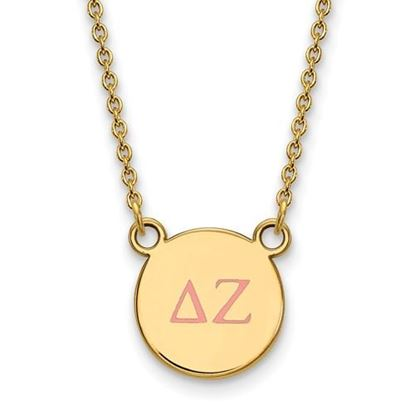 Picture of Delta Zeta Sorority Sterling Silver Gold Plated Extra Small Enameled Pendant Necklace