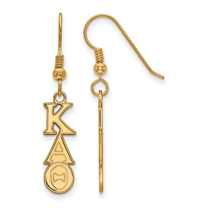 Picture of Kappa Alpha Theta Sorority Sterling Silver Gold Plated Dangle Medium Earrings