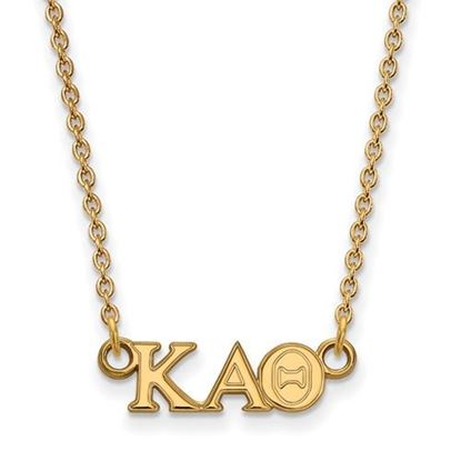 Picture of Kappa Alpha Theta Sorority Sterling Silver Gold Plated Extra Small Pendant Necklace