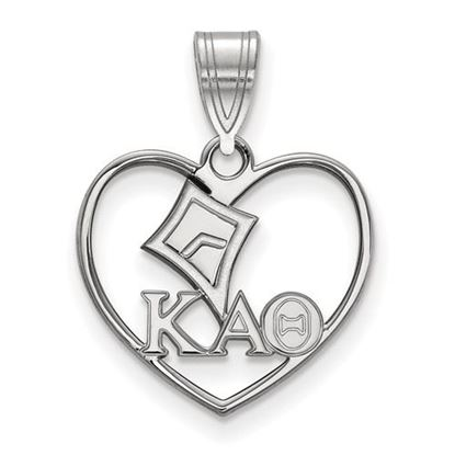 Picture of Kappa Alpha Theta Sorority Sterling Silver Heart Pendant