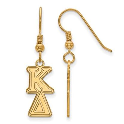 Picture of Kappa Delta Sorority Sterling Silver Gold Plated Dangle Medium Earrings