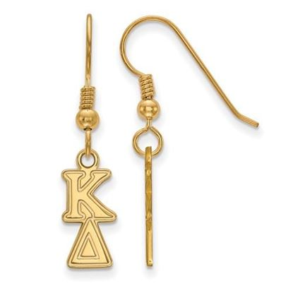 Picture of Kappa Delta Sorority Sterling Silver Gold Plated Small Dangle Earrings