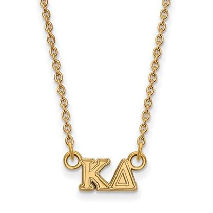 Picture of Kappa Delta Sorority Sterling Silver Gold Plated Extra Small Pendant Necklace