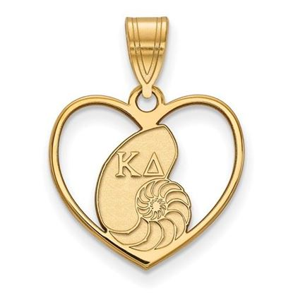 Picture of Kappa Delta Sorority Sterling Silver Gold Plated Heart Pendant