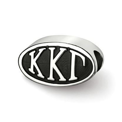 Picture of Kappa Kappa Gamma Sorority Sterling Silver Oval Symbol Letters Bead
