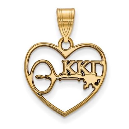 Picture of Kappa Kappa Gamma Sorority Sterling Silver Gold Plated Heart Pendant