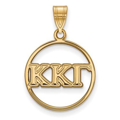 Picture of Kappa Kappa Gamma Sorority Sterling Silver Gold Plated Small Circle Pendant