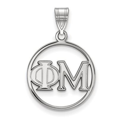 Picture of Phi Mu Sorority Sterling Silver Circle Pendant