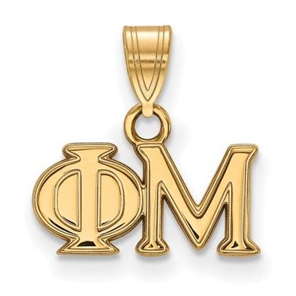 Picture of Phi Mu Sorority Sterling Silver Gold Plated Small Pendant