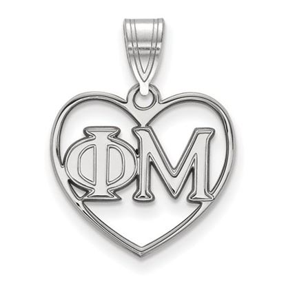 Picture of Phi Mu Sorority Sterling Silver Heart Pendant