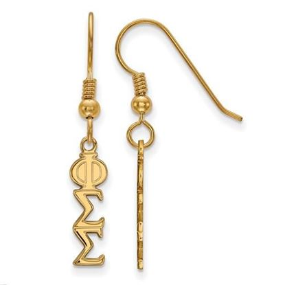 Picture of Phi Sigma Sigma Sorority Sterling Silver Gold Plated Small Dangle Earrings