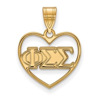 Picture of Phi Sigma Sigma Sorority Sterling Silver Gold Plated Heart Pendant