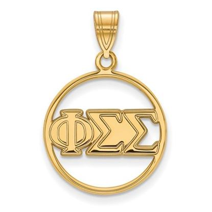 Picture of Phi Sigma Sigma Sorority Sterling Silver Gold Plated Small Circle Pendant