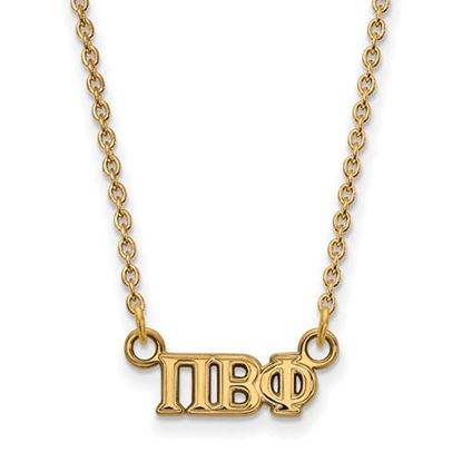 Picture of Pi Beta Phi Sorority Sterling Silver Gold Plated Extra Small Pendant Necklace