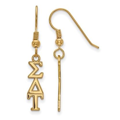 Picture of Sigma Delta Tau Sorority Sterling Silver Gold Plated Small Dangle Earrings