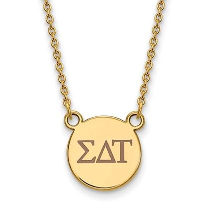 Picture of Sigma Delta Tau Sorority Sterling Silver Gold Plated Extra Small Enameled Pendant Necklace