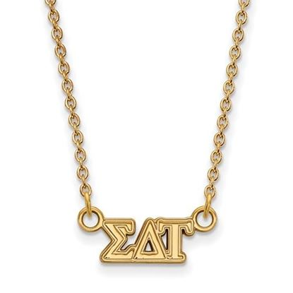 Picture of Sigma Delta Tau Sorority Sterling Silver Gold Plated Extra Small Pendant Necklace