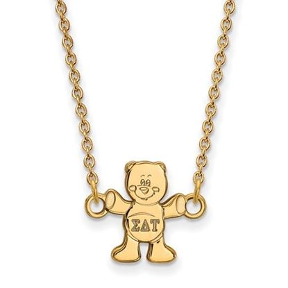 Picture of Sigma Delta Tau Sorority Gold Plated Bear Pendant Necklace