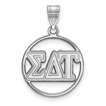 Picture of Sigma Delta Tau Sorority Sterling Silver Circle Pendant