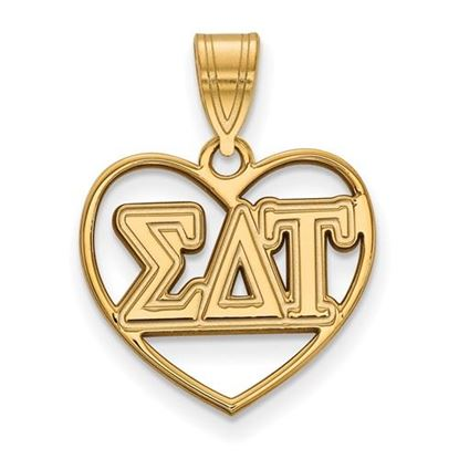 Picture of Sigma Delta Tau Sorority Sterling Silver Gold Plated Heart Pendant