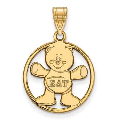 Picture of Sigma Delta Tau Sorority Sterling Silver Gold Plated Small Circle Pendant