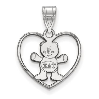 Picture of Sigma Delta Tau Sorority Sterling Silver Heart Pendant