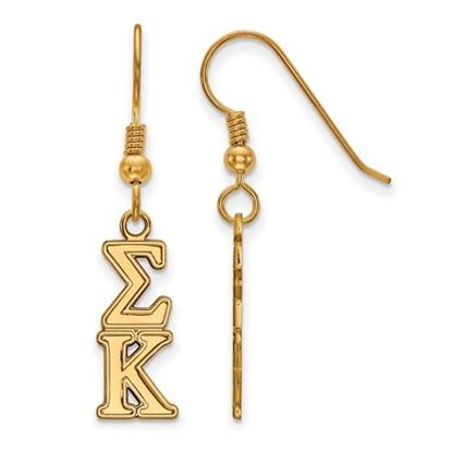 Picture of Sigma Kappa Sorority Sterling Silver Gold Plated Dangle Medium Earrings