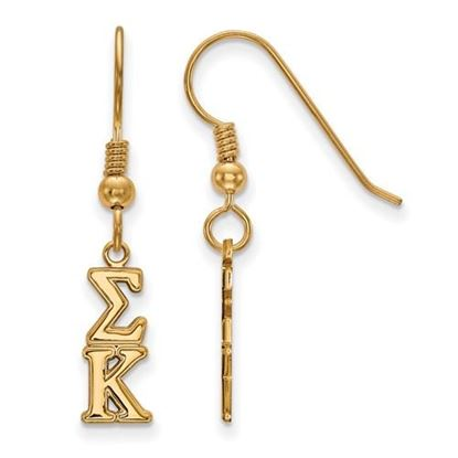 Picture of Sigma Kappa Sorority Sterling Silver Gold Plated Small Dangle Earrings