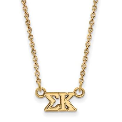 Picture of Sigma Kappa Sorority Sterling Silver Gold Plated Extra Small Pendant Necklace