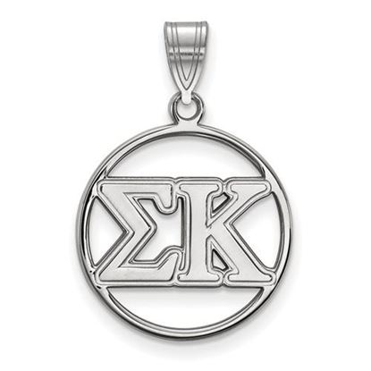 Picture of Sigma Kappa Sorority Sterling Silver Circle Pendant