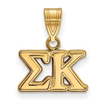 Picture of Sigma Kappa Sorority Sterling Silver Gold Plated Medium Pendant
