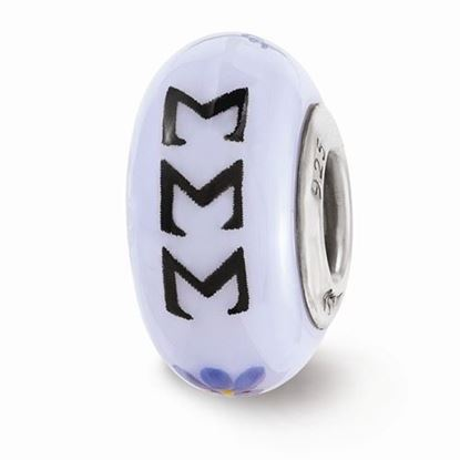 Picture of Sigma Sigma Sigma Sorority Sterling Silver Glass Bead
