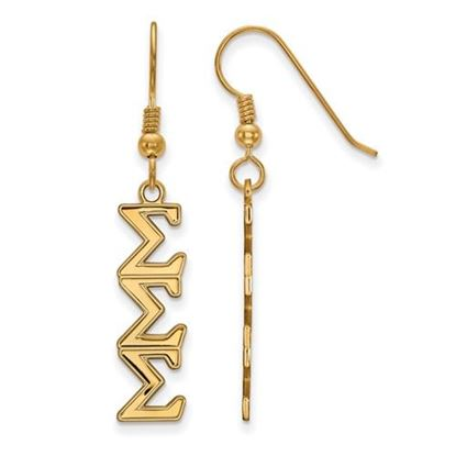 Picture of Sigma Sigma Sigma Sorority Sterling Silver Gold Plated Dangle Medium Earrings
