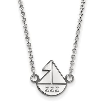 Picture of Sigma Sigma Sigma Sorority Sterling Silver Extra Small Pendant Necklace