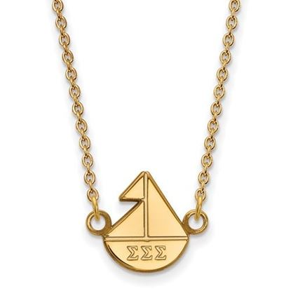 Picture of Sigma Sigma Sigma Sorority Sterling Silver Gold Plated Extra Small Pendant Necklace