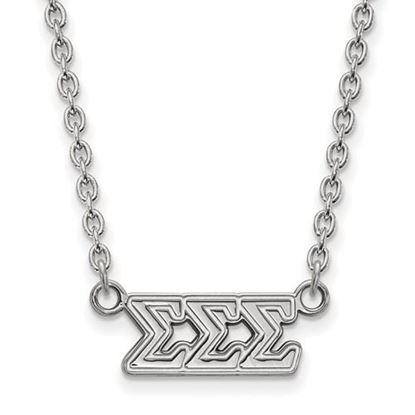 Picture of Sigma Sigma Sigma Sorority Sterling Silver Medium Pendant Necklace