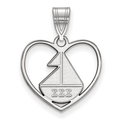 Picture of Sigma Sigma Sigma Sorority Sterling Silver Heart Pendant