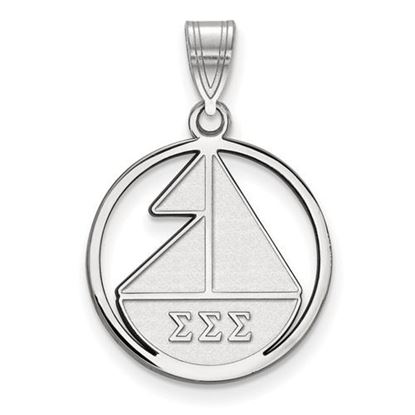 Picture of Sigma Sigma Sigma Sorority Sterling Silver Small Circle Pendant